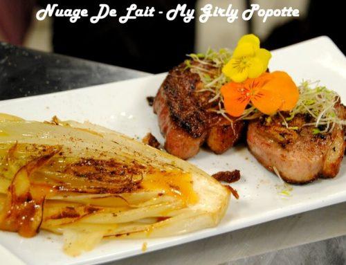 Magret farçi au foie gras, mille feuilles d'endives à la pomme et caramel à la bière