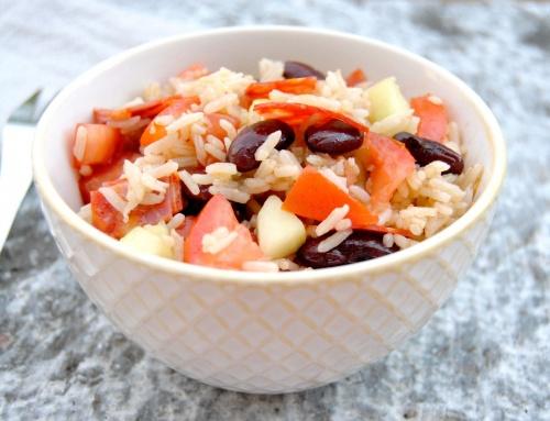Salade de riz chorizo, haricots rouges, vinaigrette au cumin