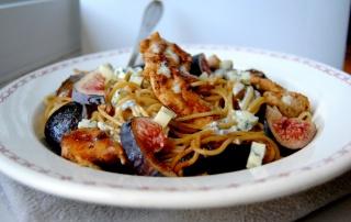 spaghettis poulet figues fourme ambert