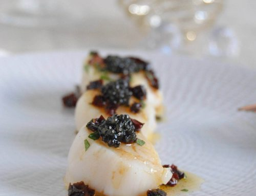 Saint Jacques au caviar De Neuvic et vinaigrette asiatique
