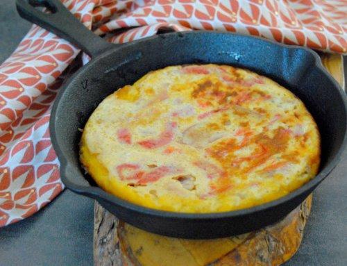 Tortilla au jambon et aux poivrons