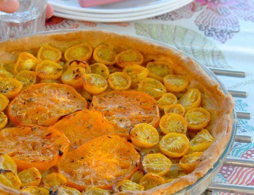 Tarte à la tomate, oignon et moutarde